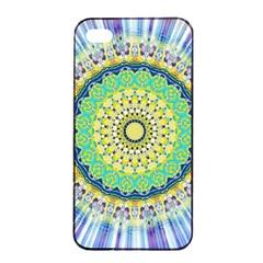 Power Mandala Sun Blue Green Yellow Lilac Apple Iphone 4/4s Seamless Case (black) by EDDArt