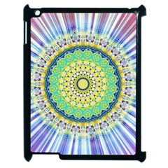 Power Mandala Sun Blue Green Yellow Lilac Apple Ipad 2 Case (black) by EDDArt