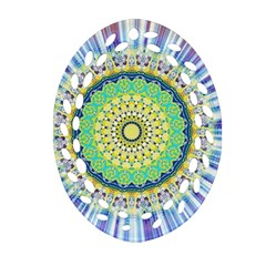 Power Mandala Sun Blue Green Yellow Lilac Ornament (oval Filigree) by EDDArt