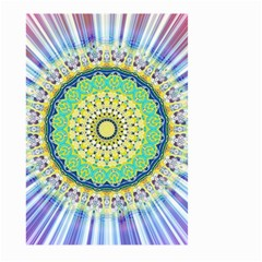 Power Mandala Sun Blue Green Yellow Lilac Large Garden Flag (two Sides) by EDDArt