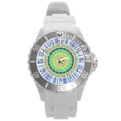 Power Mandala Sun Blue Green Yellow Lilac Round Plastic Sport Watch (l) by EDDArt