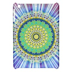 Power Mandala Sun Blue Green Yellow Lilac Apple Ipad Mini Hardshell Case by EDDArt