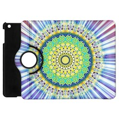 Power Mandala Sun Blue Green Yellow Lilac Apple Ipad Mini Flip 360 Case by EDDArt