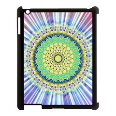 Power Mandala Sun Blue Green Yellow Lilac Apple Ipad 3/4 Case (black) by EDDArt
