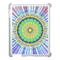 Power Mandala Sun Blue Green Yellow Lilac Apple Ipad 3/4 Case (white) by EDDArt
