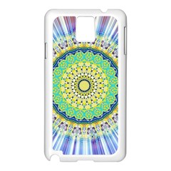 Power Mandala Sun Blue Green Yellow Lilac Samsung Galaxy Note 3 N9005 Case (white) by EDDArt