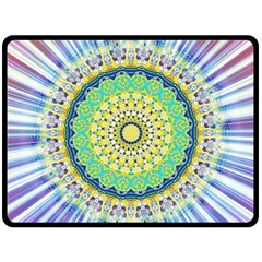 Power Mandala Sun Blue Green Yellow Lilac Double Sided Fleece Blanket (large)  by EDDArt