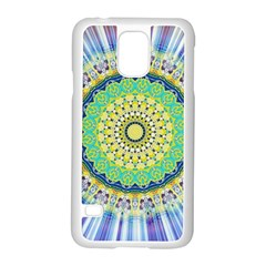 Power Mandala Sun Blue Green Yellow Lilac Samsung Galaxy S5 Case (white) by EDDArt