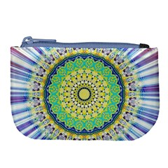 Power Mandala Sun Blue Green Yellow Lilac Large Coin Purse by EDDArt