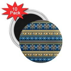 Vintage Border Wallpaper Pattern Blue Gold 2 25  Magnets (10 Pack)  by EDDArt