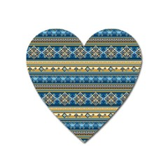 Vintage Border Wallpaper Pattern Blue Gold Heart Magnet by EDDArt