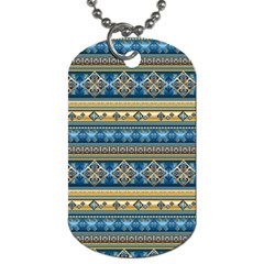 Vintage Border Wallpaper Pattern Blue Gold Dog Tag (one Side) by EDDArt