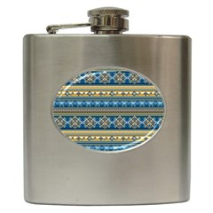 Vintage Border Wallpaper Pattern Blue Gold Hip Flask (6 Oz)