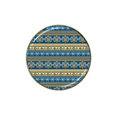 Vintage Border Wallpaper Pattern Blue Gold Hat Clip Ball Marker by EDDArt
