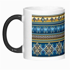 Vintage Border Wallpaper Pattern Blue Gold Morph Mugs by EDDArt