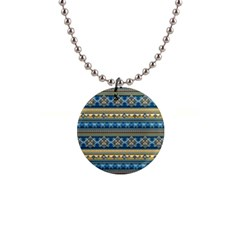 Vintage Border Wallpaper Pattern Blue Gold Button Necklaces by EDDArt