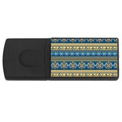 Vintage Border Wallpaper Pattern Blue Gold Rectangular Usb Flash Drive by EDDArt
