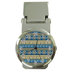 Vintage Border Wallpaper Pattern Blue Gold Money Clip Watches by EDDArt