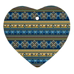 Vintage Border Wallpaper Pattern Blue Gold Heart Ornament (two Sides) by EDDArt