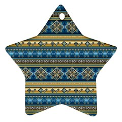 Vintage Border Wallpaper Pattern Blue Gold Star Ornament (two Sides) by EDDArt