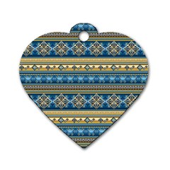 Vintage Border Wallpaper Pattern Blue Gold Dog Tag Heart (two Sides) by EDDArt