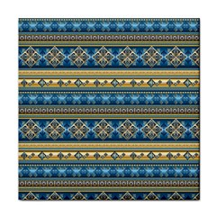 Vintage Border Wallpaper Pattern Blue Gold Face Towel by EDDArt