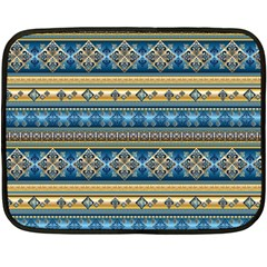Vintage Border Wallpaper Pattern Blue Gold Double Sided Fleece Blanket (mini)  by EDDArt