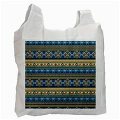 Vintage Border Wallpaper Pattern Blue Gold Recycle Bag (one Side) by EDDArt