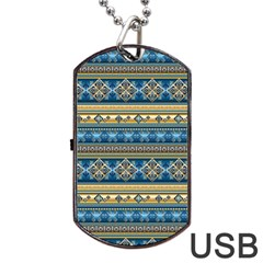 Vintage Border Wallpaper Pattern Blue Gold Dog Tag Usb Flash (one Side) by EDDArt
