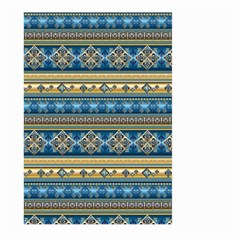 Vintage Border Wallpaper Pattern Blue Gold Large Garden Flag (two Sides) by EDDArt