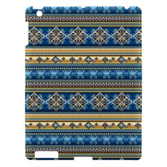 Vintage Border Wallpaper Pattern Blue Gold Apple Ipad 3/4 Hardshell Case by EDDArt