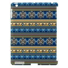 Vintage Border Wallpaper Pattern Blue Gold Apple Ipad 3/4 Hardshell Case (compatible With Smart Cover) by EDDArt