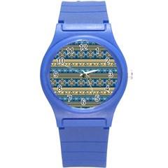 Vintage Border Wallpaper Pattern Blue Gold Round Plastic Sport Watch (s) by EDDArt