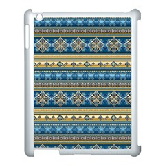 Vintage Border Wallpaper Pattern Blue Gold Apple Ipad 3/4 Case (white) by EDDArt