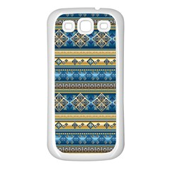 Vintage Border Wallpaper Pattern Blue Gold Samsung Galaxy S3 Back Case (white) by EDDArt