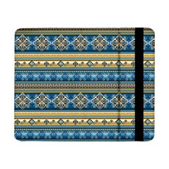 Vintage Border Wallpaper Pattern Blue Gold Samsung Galaxy Tab Pro 8 4  Flip Case by EDDArt