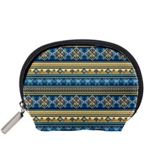 Vintage Border Wallpaper Pattern Blue Gold Accessory Pouches (small)  by EDDArt