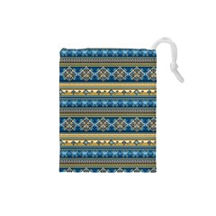 Vintage Border Wallpaper Pattern Blue Gold Drawstring Pouches (small)  by EDDArt