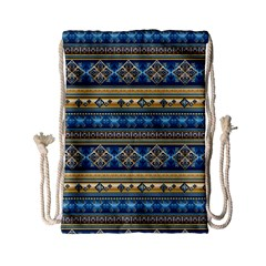 Vintage Border Wallpaper Pattern Blue Gold Drawstring Bag (small) by EDDArt