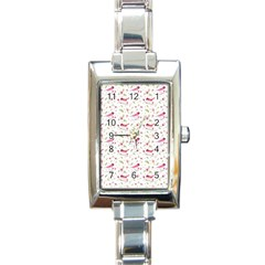 Watercolor Birds Magnolia Spring Pattern Rectangle Italian Charm Watch