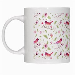 Watercolor Birds Magnolia Spring Pattern White Mugs by EDDArt