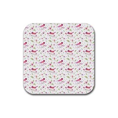 Watercolor Birds Magnolia Spring Pattern Rubber Square Coaster (4 Pack)