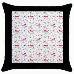 Watercolor Birds Magnolia Spring Pattern Throw Pillow Case (black) by EDDArt