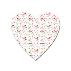 Watercolor Birds Magnolia Spring Pattern Heart Magnet by EDDArt