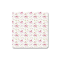 Watercolor Birds Magnolia Spring Pattern Square Magnet by EDDArt
