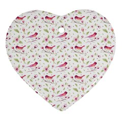 Watercolor Birds Magnolia Spring Pattern Heart Ornament (two Sides)