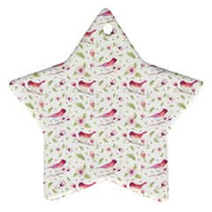 Watercolor Birds Magnolia Spring Pattern Star Ornament (two Sides) by EDDArt