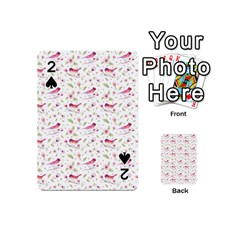 Watercolor Birds Magnolia Spring Pattern Playing Cards 54 (mini)