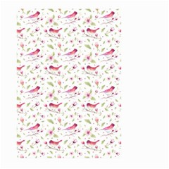 Watercolor Birds Magnolia Spring Pattern Large Garden Flag (two Sides) by EDDArt