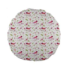 Watercolor Birds Magnolia Spring Pattern Standard 15  Premium Round Cushions by EDDArt